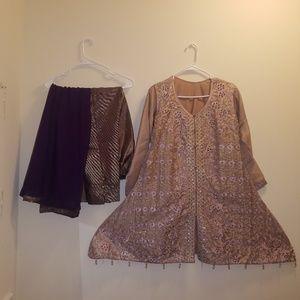Pink and purple Indian/Pakistani Anarkali Dress